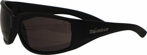 BOMBER STINK-BOMB SAFETY SUNGLASSES M ATTE BLACK W/SMOKE LENS (ST103)