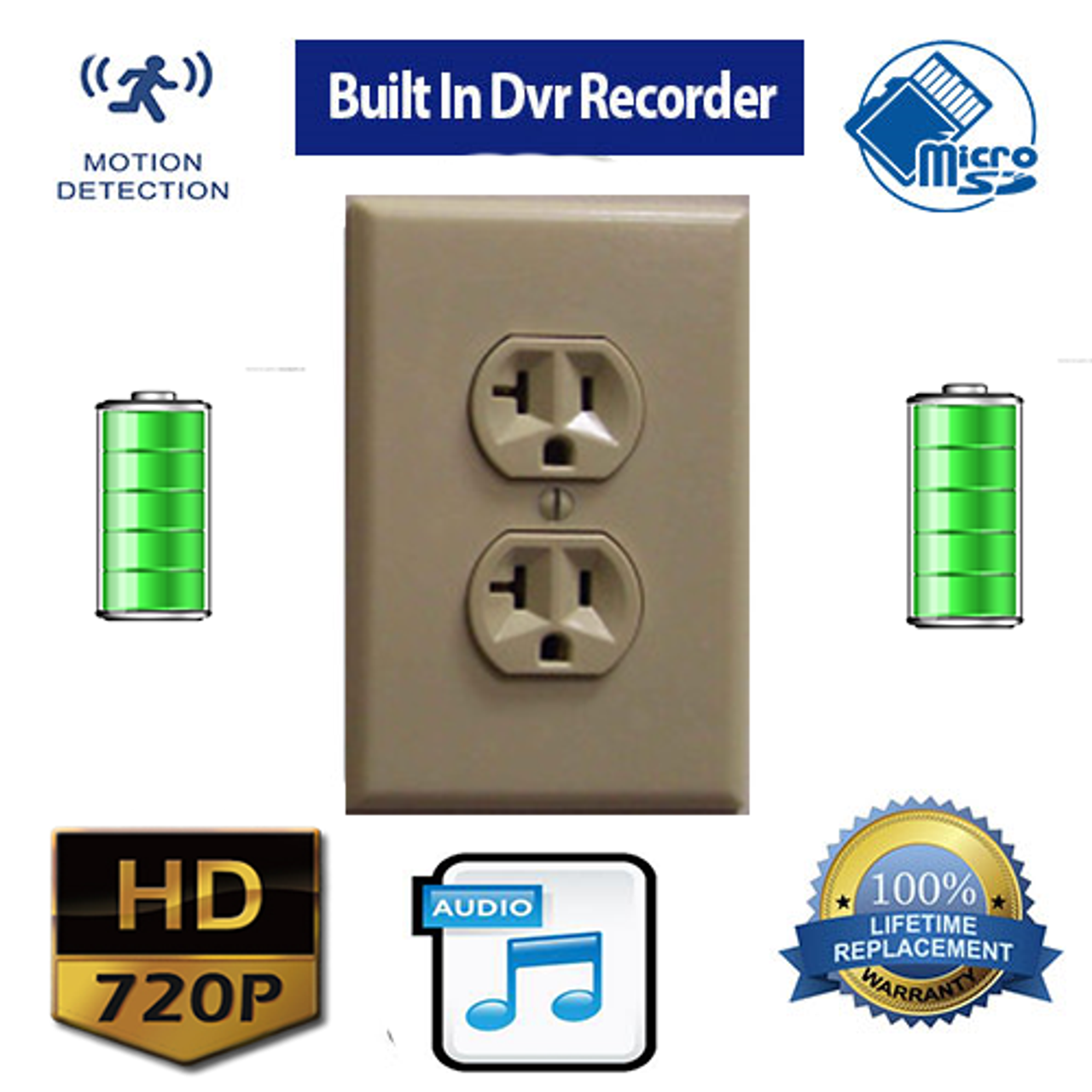 Battery Powered Outlet >> Outlet Hidden Spy Camera With Built In Dvr 720p Hd Battery Powered 30 To 90 Day Battery Life