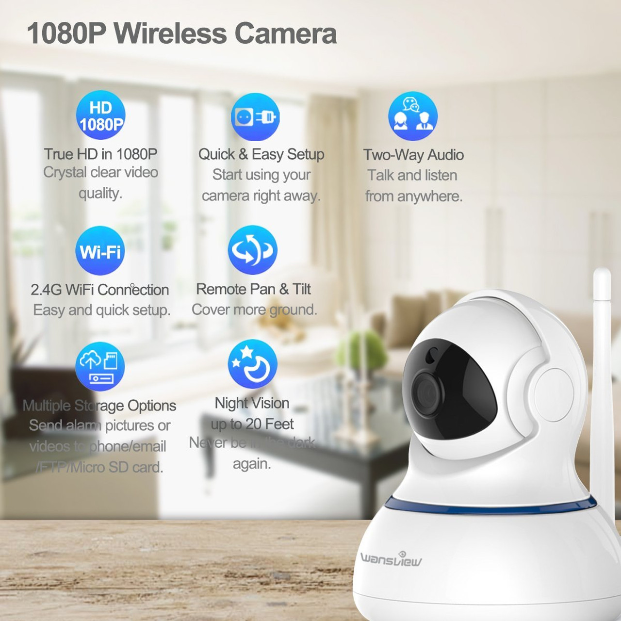 Wireless 1080P Security Camera, WiFi Home Surveillance IP Camera for  Baby/Elder/Pet/Nanny Monitor, Pan/Tilt, Two-Way Audio & Night Vision