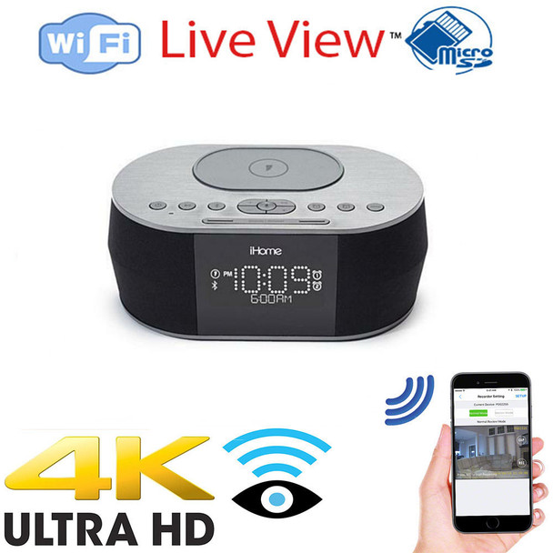 4K UHD I-Pod Docking Station WiF Surveillance Camera With Wireless Streaming Video for PC, Tablet & more