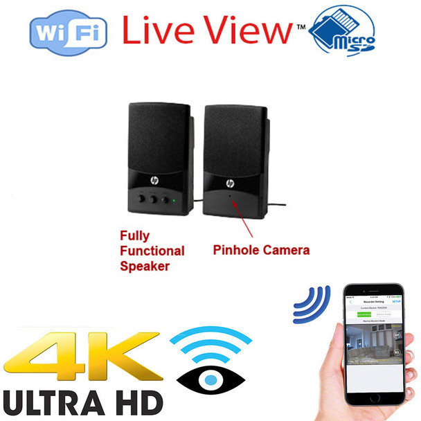 4K UHD Computer Speakers WiF Surveillance Camera DVR With Wireless Streaming Video for PC, Tablet & more