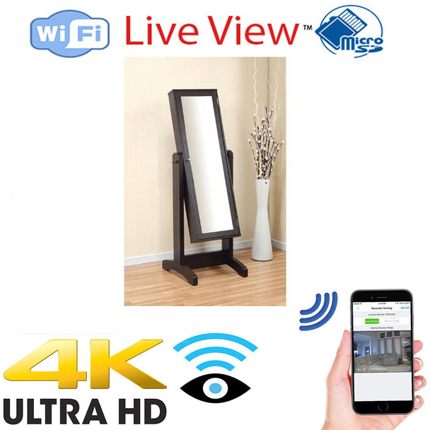 4K UHD Full Length Mirror WiFi Surveillance Camera With Wireless Streaming Video for PC, Tablet & more