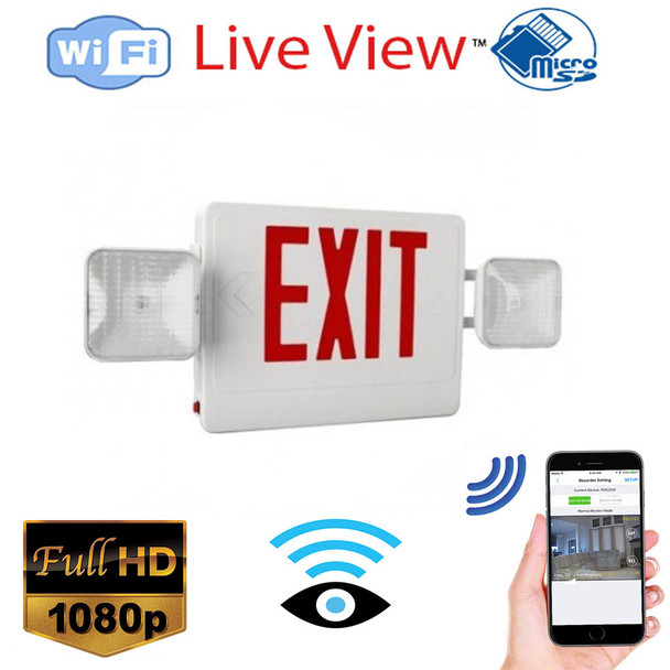 Exit Sign WIFi Surveillance Camera + Dvr With Wireless Streaming Video