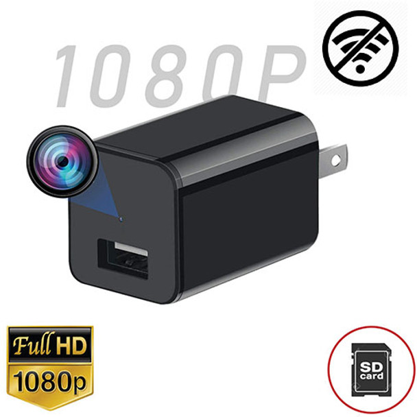 USB Wall Charger Hidden Spy Camera, Motion Detection, Up To 32GB Memory Card-HD 1080P Video Recor
