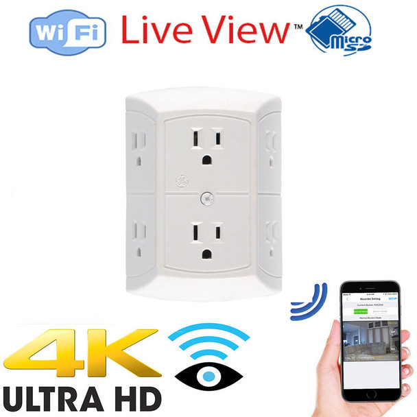 4K UHD 6 Power Outlet WiFi Surveillance Camera With Wireless Streaming Video for PC, Tablet & more