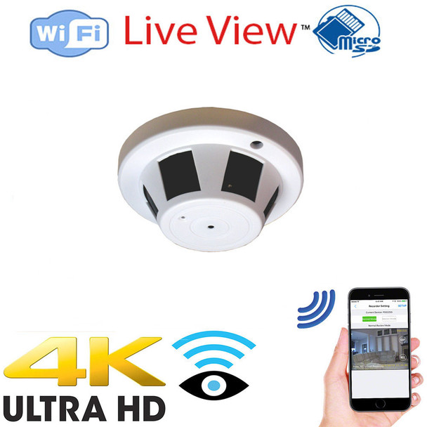 4K UHD Smoke Detector WiFi Surveillance Camera With DVR and Wireless Streaming Video for PC, Tablet & more