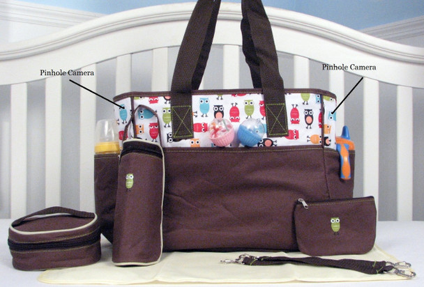 Diaper Bag Nanny Cam - Comes Duel Cameras and includes a 20 Hour battery, 8GB SD Card and 720P DVR and Camera
