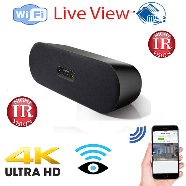 Bluetooth Speaker WiFi+DVR Hidden Nanny Spy Camera With Night Vision - Wireless Streaming Video for PC, Tablet & more