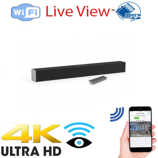4K UHD Sound Bar WiFi Surveillance Camera w/ WiFi + Dvr With Wireless Streaming Video for PC, Tablet & more