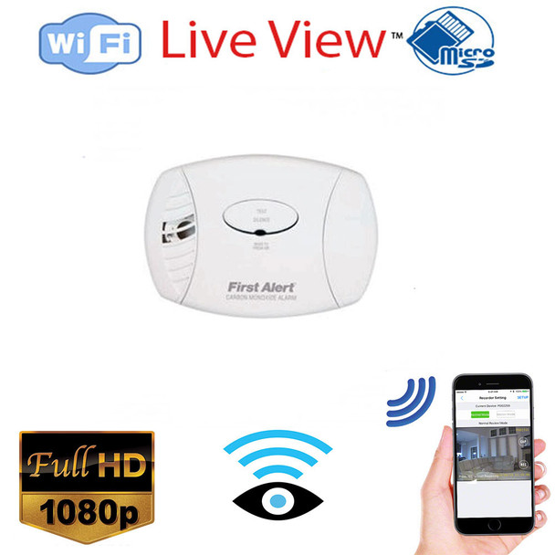 Co2 Detector WiFi Surveillance Camera With Wireless Streaming Video for PC, Tablet & more