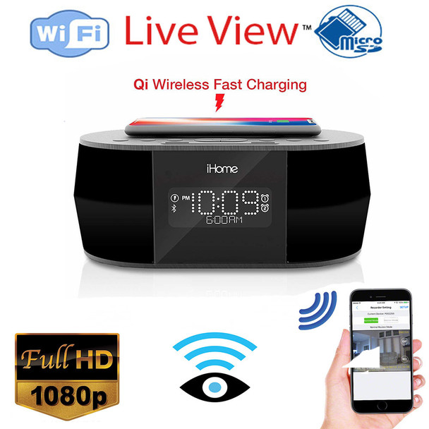 iHome Clock Radio Hidden Spy  Camera W/ Live View WiFi + Dvr and Streaming Video for PC, Tablet & more