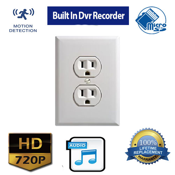 Outlet Hidden Camera Built In DVR-Hard Wired