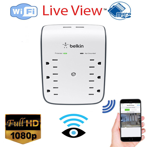 Outlet Surge Protector WiFi Security Camera 1080P HD W/ Live View WiFi + Dvr and Streaming Video for PC, Tablet & more