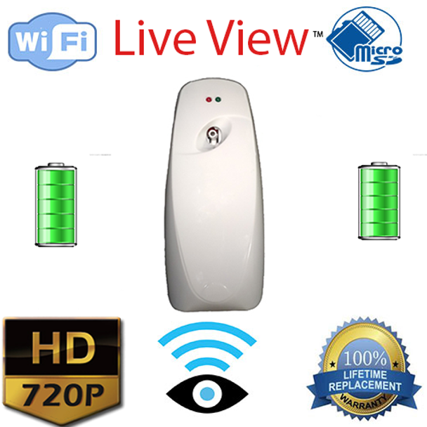 Air Freshener Nanny Camera With WiFi+DVR W/ Wireless Streaming Video For PC, Tablet & More