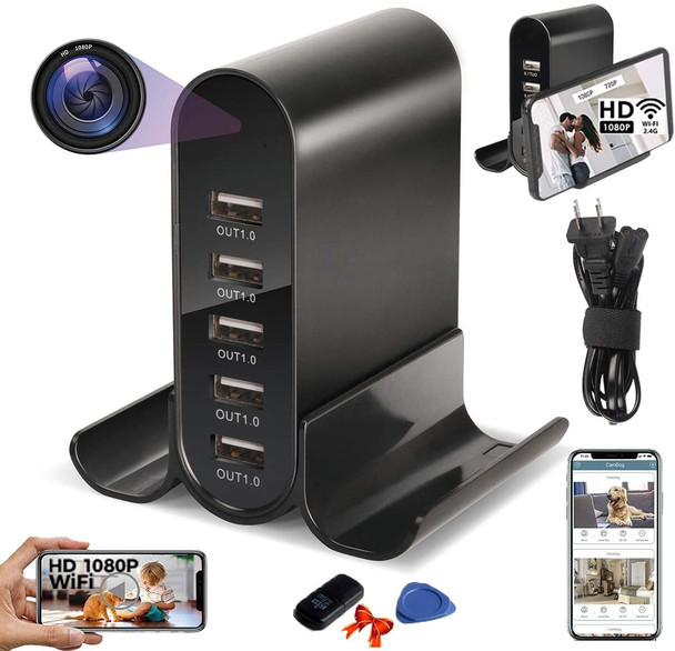 USB Charger Cam-Desktop Charging Station 1080P Mini Wireless Cam with 5-USB Port Plug Motion Detection, Loop Record,Phone Charging and more