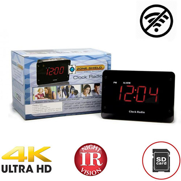 4K Night Vision Clock Radio DVR - Up To 128 Gig Sd Card (No WiFi Needed)