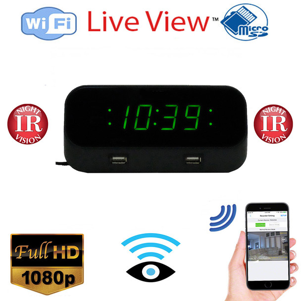 WiFi Alarm Clock Nanny Cam With Night Vision +DVR Live View Remotely Monitoring