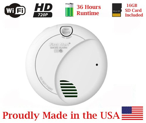 36 hrs Battery Powered Smoke Detector WiFi Wireless Srecurity Camera for iPhone/Android Phone/ iPad