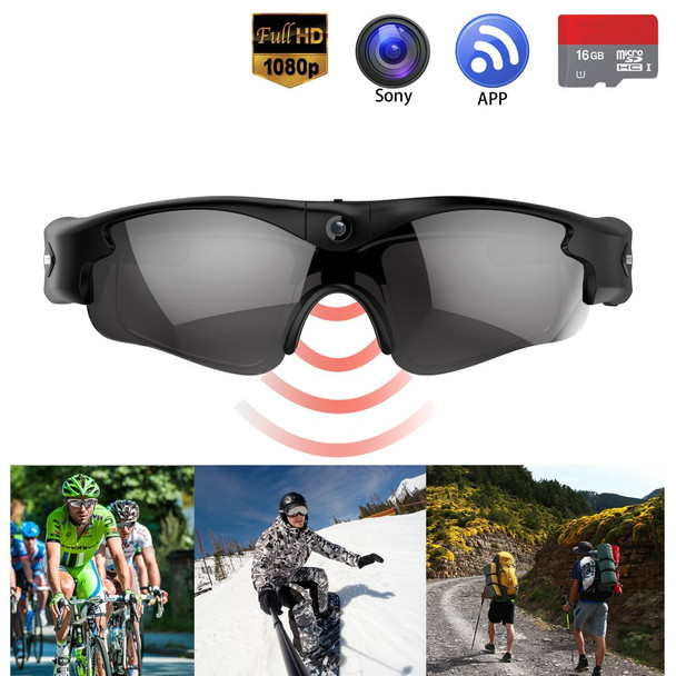 80P WiFi Video Sunglasses with Camera | Wide Angle View, UV Protection Eyewear,Lightweight Frame,Unisex Design - for Sports,Riding,Fishing,Motorcycle (Black