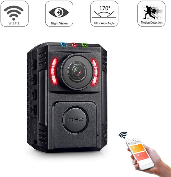Body Camera for Law Enforcement - with Night Vision - HD 1080P Motion Detection - Mini Body Worn Camera - WiFi Wireless Security Personal Camera with Phone App