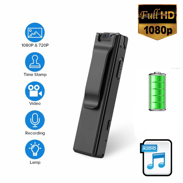 1080P Mini Body Cameras with Audio Wearable Video Recorder Back Clip Easy to Operate for Teaching/Tour/Lecture/Interview/Baby Monitor Recor