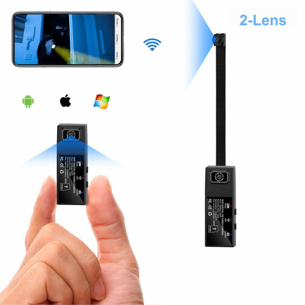 Wifi Mini Spy Camera 2 lens HD 1080P Portable Hidden Camera with audio + Mobile APP with Motion Detection Alarm