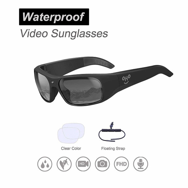 1080P HD Waterproof Video Sunglasses, 1080P Full HD Video Recording Camera with Polarized UV400 Protection Safety Lenses
