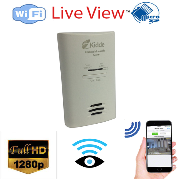 1280p HD Co2 Detector Hidden Spy Camera W/ Live View WiFi + Dvr and Streaming Video for PC, Tablet & more