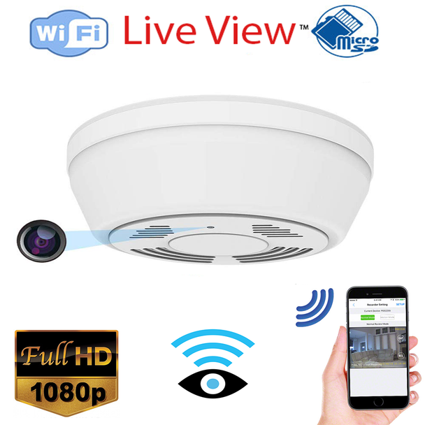 Smoke Detector WiFi Night Vision Security Camera,Motion Activated with 180 Days Battery Power,Remote Internet Access,Night Vision,SD Card Slot,Bottom View Lens for Home Security