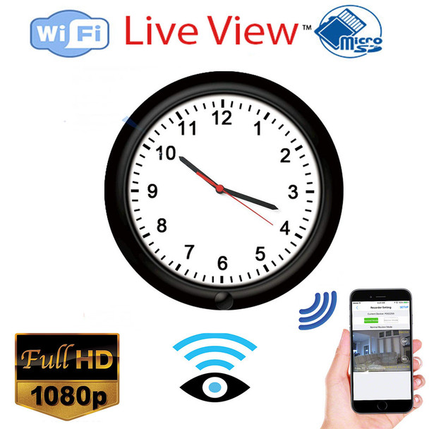 1080P WiFi Spy Wall Clock Camera Rechargeable Battery Powered Adjustable Lens Wireless Camera Motion Detection Push Alarm Loop Recording for Home Security