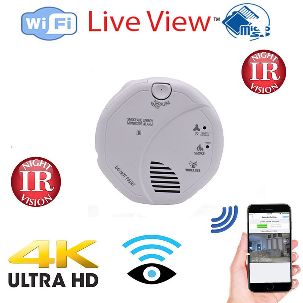 WiFi Hidden Nanny Spy Camera Smoke Detector - Night Vision HD 1080P Wireless Security Camera with Remotely Monitoring- Includes 128 Gig Memory (Hard Wire