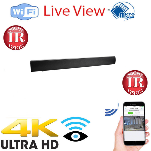 Sound Bar WiFi Surveillance Camera with Built-in DVR- Night Vision and and Wireless Streaming Video for PC, iPhone Tablet & more (WITH FREE 128GB MICROSD CARD)