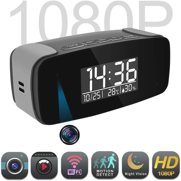 Alarm Clock with Cloud Recording Camera HD 1080P, Wi-Fi Live Streaming Video Recorder Wireless IP Surveillance Camera for Indoor Security Use