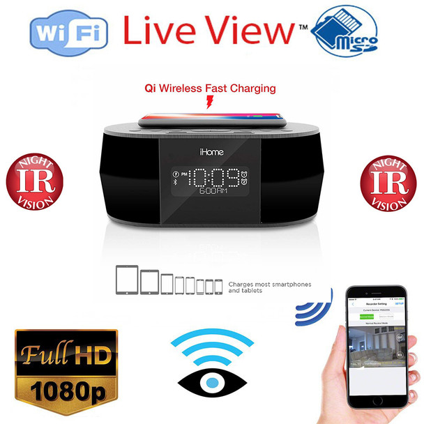 iHome Clock Radio Hidden Spy Camera With Night Vision / Live View WiFi + Dvr and Streaming Video for PC, Tablet & more