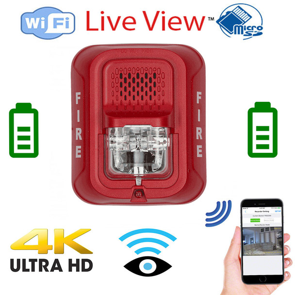 K Ultra HD WiFi Battery Powered Fire Alarm Strobe Spy Camera