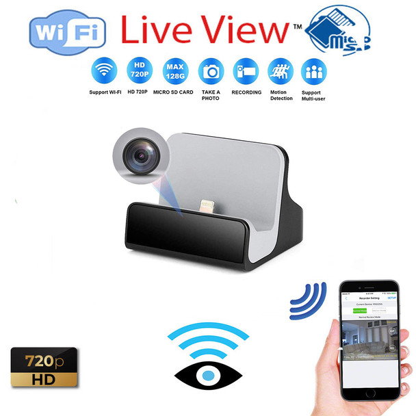 Cell Phone Charger Dock Hidden Spy Camera W/ Live View WiFi + Dvr (iPhone Only)