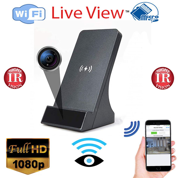Phone Charger with Qi-Certificated Fast Wireless Charger Spy-Hidden Camera with Night Vision