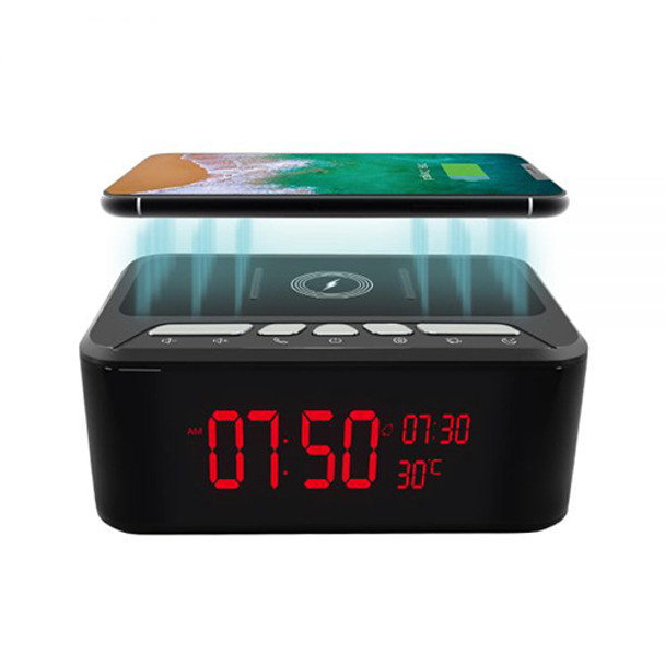 HD 1080P Alarm Clock-Wireless Phone Charger and Bluetooth Speaker Spy-Hidden Security Wi-Fi Camera