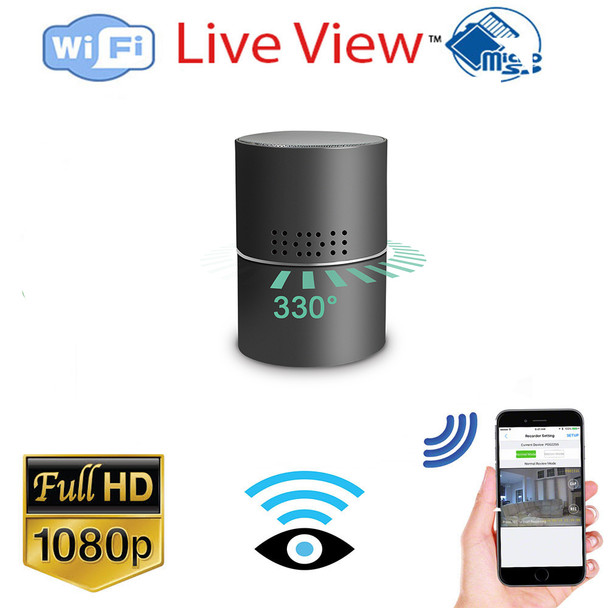 Bluetooth Speaker WiFi Surveillance Camera With Rotating lens and Night Vision W/ Live View WiFi + Dvr