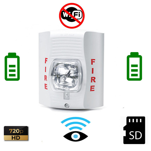 Battery Powered White Fire Strobe Light Battery Powere Spy Camera (30 to 60 Days Battery)