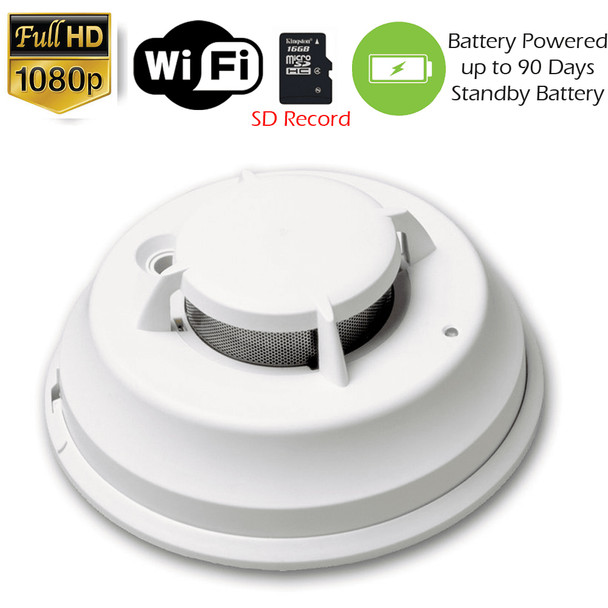 1080P WiFi Commercial Grade Smoke Detector Fire Alarm Security Camera (up to 90 Days Battery)