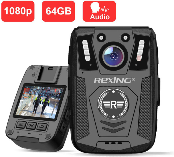 "Body Worn Camera, 2"" Display 1080p Full HD, 64G Memory,Record Video, Audio & Pictures,Infrared Night Vision,Police Panic Mode, 3000 mAh Battery,10HR Battery Life,Waterproof,Shockproof"