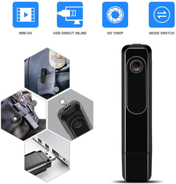 Mini Body Camera with USB Port Body Cam HD 1080P  Portable  Body Cameras Wearable Video Recorder with Clip