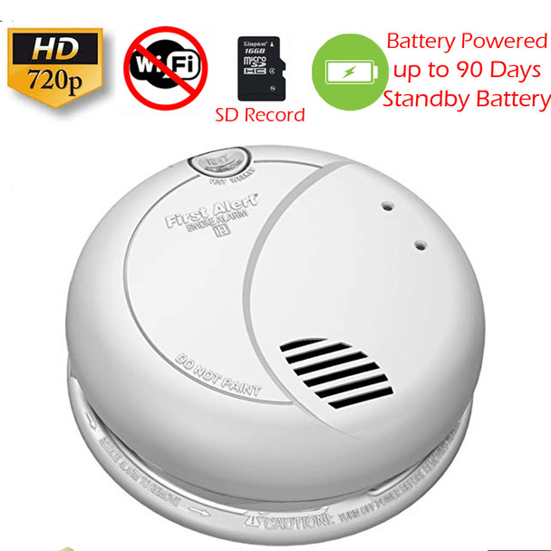 Battery Powered Smoke Detector Spy Camera (Non-Wi-Fi, Battery Powered