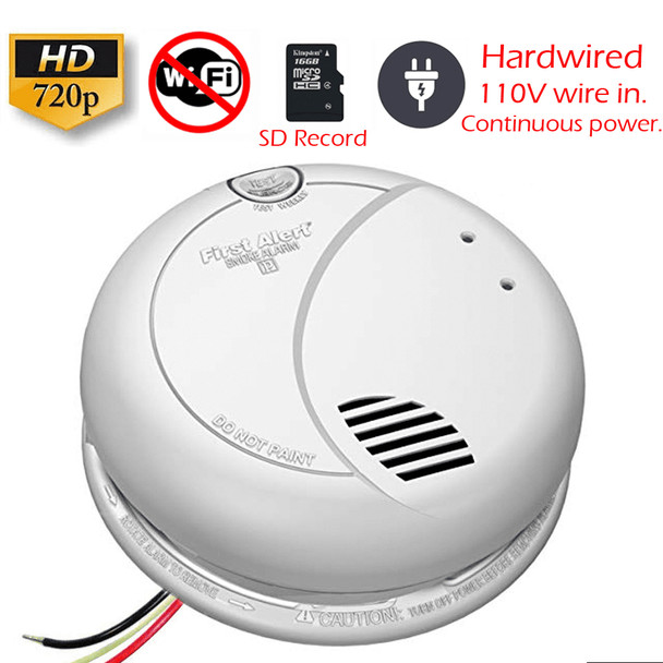 AC Hardwired Smoke Detector Spy Camera (Non-Wi-Fi, 110V AC Powered)