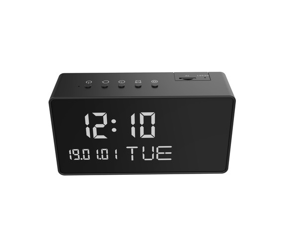 Black 1080P HD Wireless WIFI Alarm Clock Camera with Night Vision -12 Hr. Battery