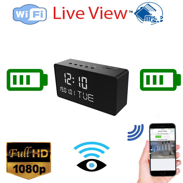 1080P HD Alarm Clock WiFi Camera with live streaming Video and Night Vision