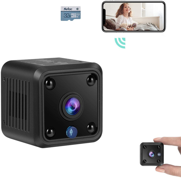 Mini Camera, WiFi Wireless Security Camera, 1080P HD Small Home Security Camera with 32G SD Card, Night Vision, Motion Detection, Rechargeable