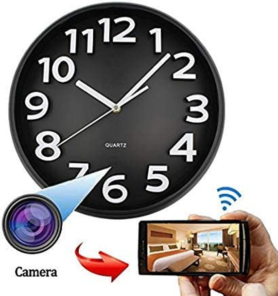 WiFi HD SPY Hidden IP Camera DVR Wall Clock Real-Time Nanny Cam Night Vision, Loop Recording,PIR Activated Local Record nstant Push,Free iOS& Android App, Home Security & Surveillance