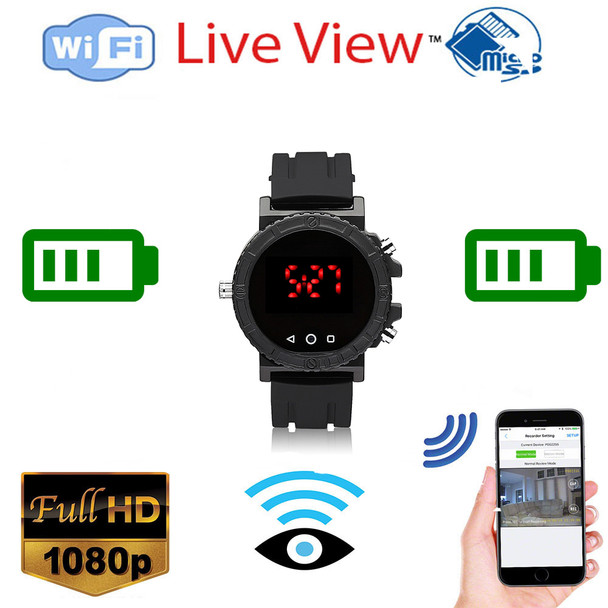 1080P Full HD Sport Watch Hidden Spy Camera IR Night Vision MINI Video Recorder WIFI Watch Spy Cam With Time Display
